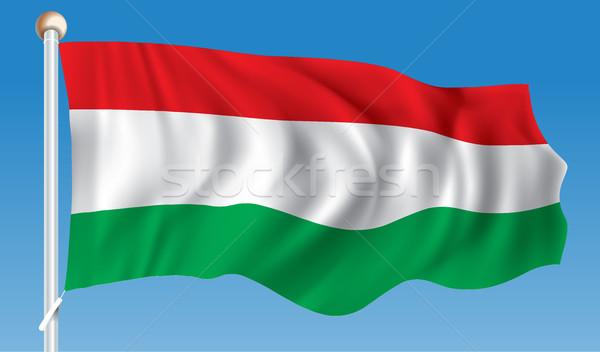Foto stock: Bandeira · Hungria · abstrato · viajar · silhueta · vento