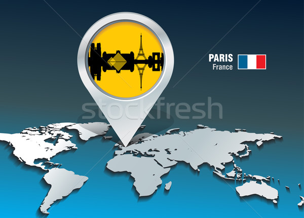 Map pin with Paris skyline Stock photo © ojal