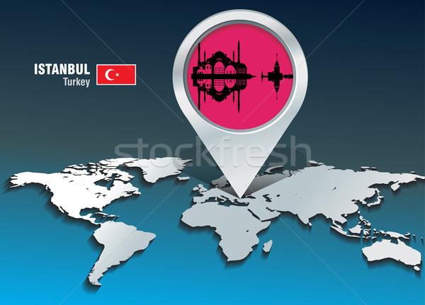 Térkép tő Isztambul sziluett épület város Stock fotó © ojal