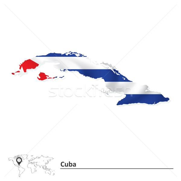 Térkép Kuba zászló textúra háttér művészet Stock fotó © ojal
