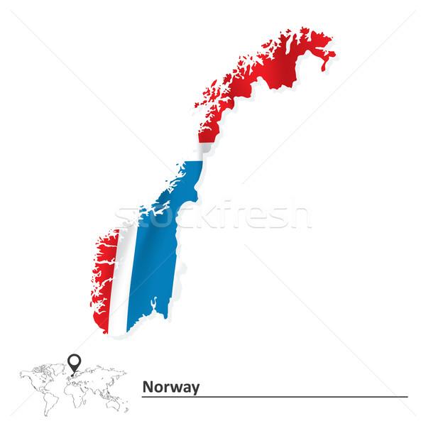 地図 ノルウェー フラグ 抽象的な 世界 赤 ストックフォト © ojal