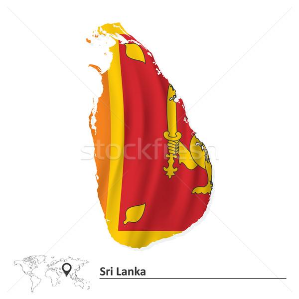 Map of Sri Lanka with flag Stock photo © ojal