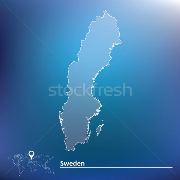 Mappa Svezia abstract mondo viaggio silhouette Foto d'archivio © ojal