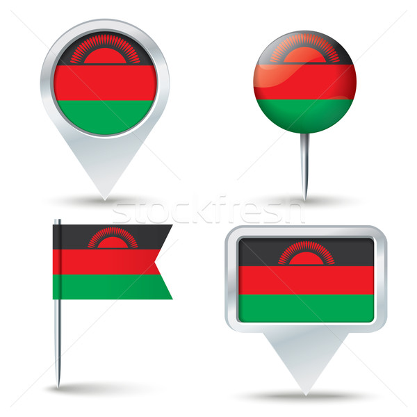 Map pins with flag of Malawi Stock photo © ojal