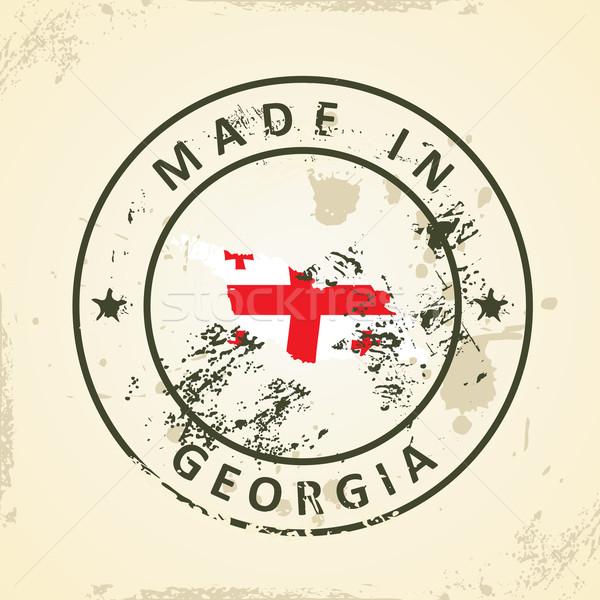 Tampon carte pavillon Géorgie grunge croix Photo stock © ojal