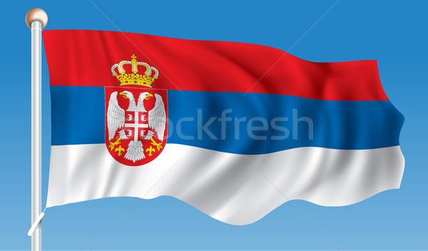 Bandeira Sérvia quadro arte azul tecido Foto stock © ojal