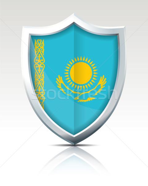 Escudo bandeira Cazaquistão textura projeto fundo Foto stock © ojal