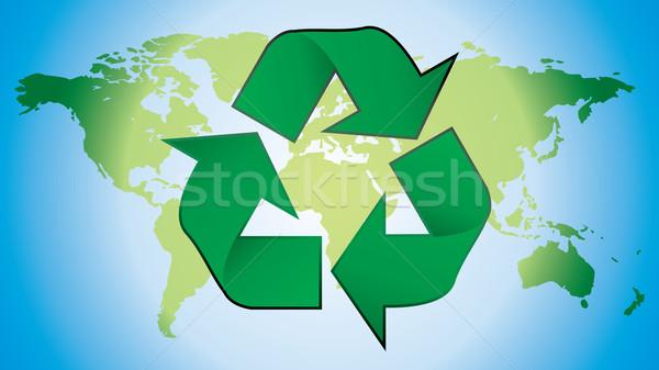 Recycling symbool wereldkaart aarde teken web Stockfoto © ojal