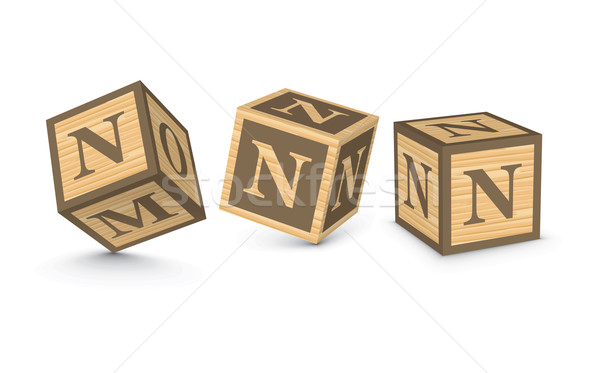 Vector letter N wooden alphabet blocks Stock photo © ojal