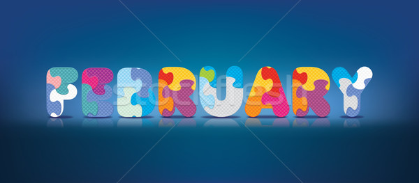 Stock photo: Vector FEBRUARY written with alphabet puzzle