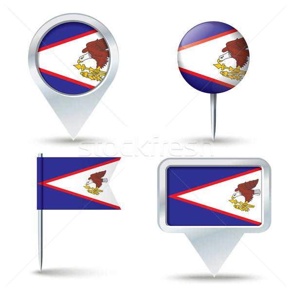 Mapa bandeira Samoa Americana negócio estrada branco Foto stock © ojal