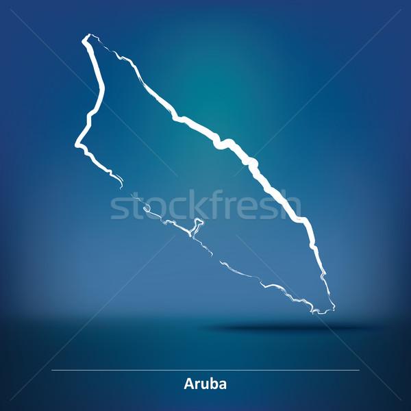 Doodle Map of Aruba Stock photo © ojal