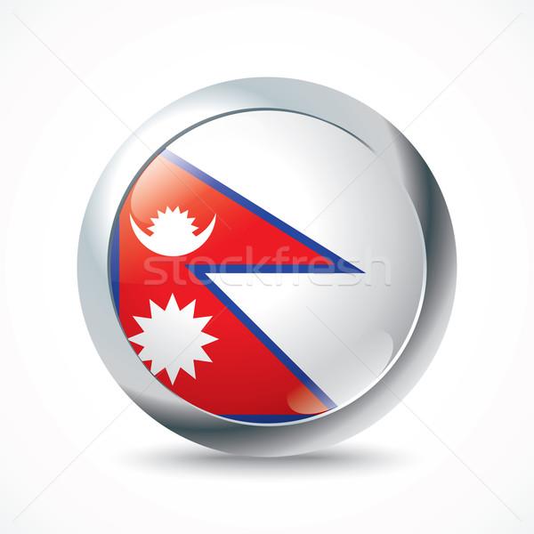 Nepal bayrak düğme doku dizayn seyahat Stok fotoğraf © ojal