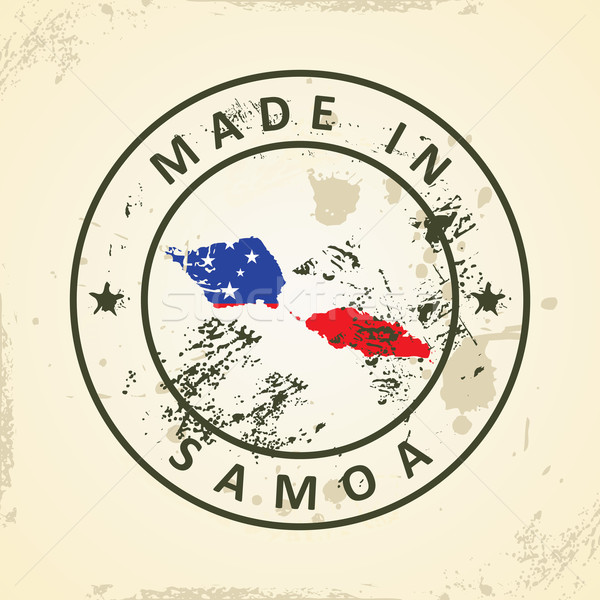 Stamp with map flag of Samoa Stock photo © ojal