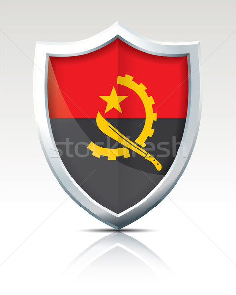 Shield with Flag of Angola Stock photo © ojal