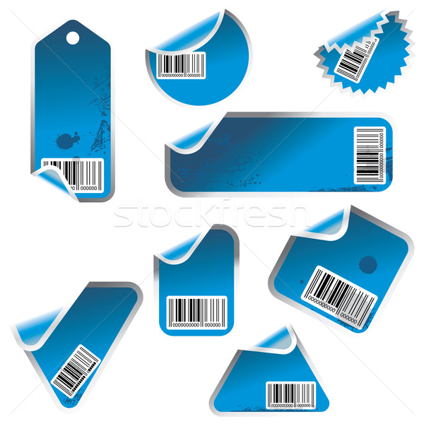 blue vector tag and sticker set with bar codes Stock photo © ojal
