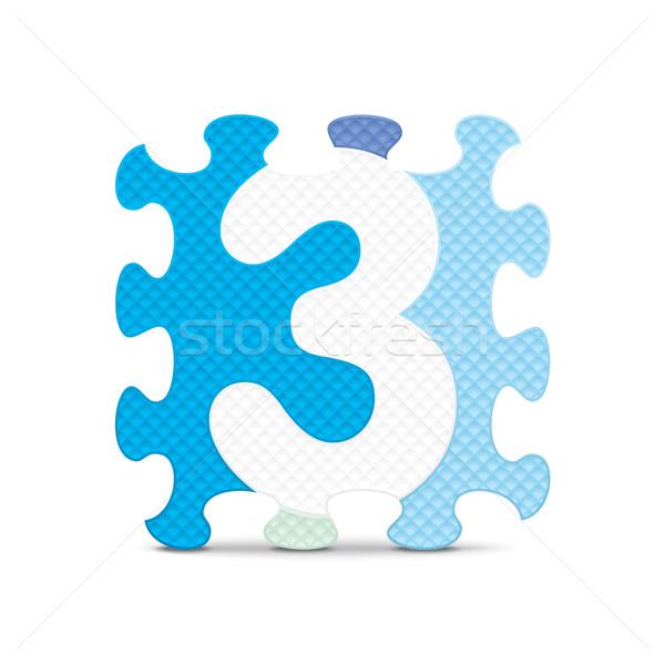 ストックフォト: ベクトル · 番号 · 書かれた · アルファベット · パズル · コンピュータ