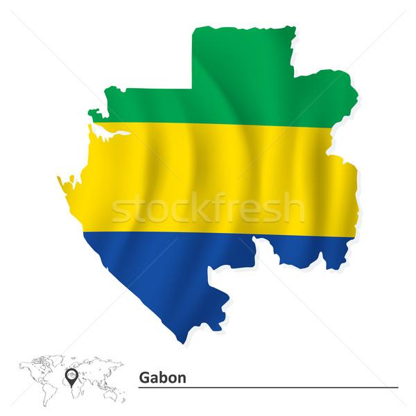 Harita Gabon bayrak doku soyut siluet Stok fotoğraf © ojal