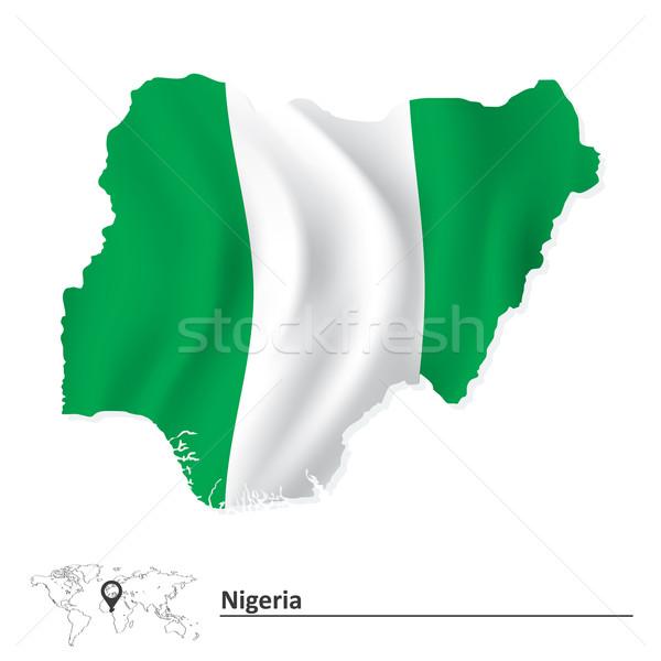 Mapa Nigéria bandeira textura projeto verde Foto stock © ojal