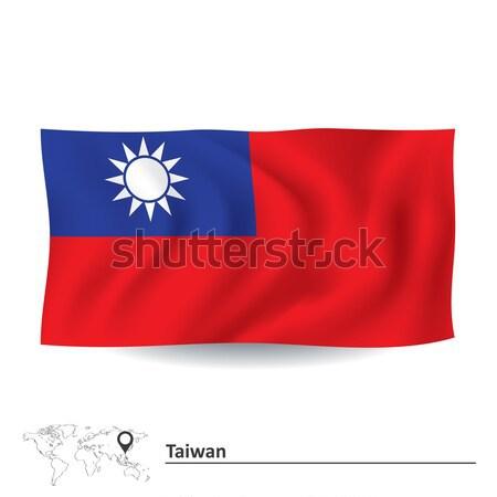 Bayrak Tayvan mavi Asya grafik çizim Stok fotoğraf © ojal