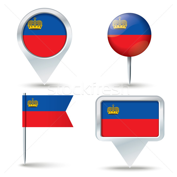 Map pins with flag of Liechtenstein Stock photo © ojal