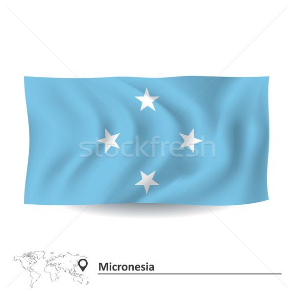 Bandeira Micronésia projeto silhueta vento seta Foto stock © ojal