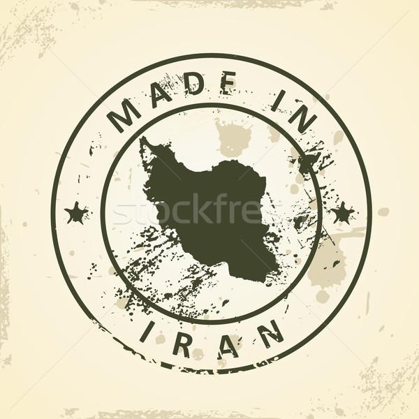 Damga harita İran grunge dünya sanat Stok fotoğraf © ojal