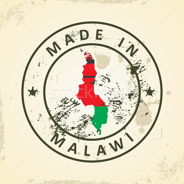 Stamp with map flag of Malawi Stock photo © ojal