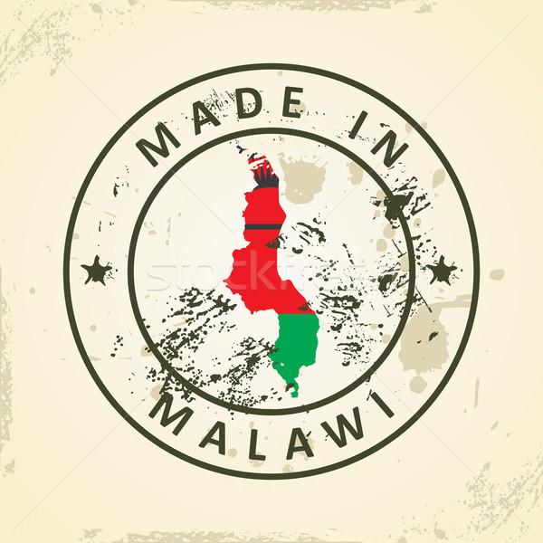 штампа карта флаг Малави Гранж Мир Сток-фото © ojal