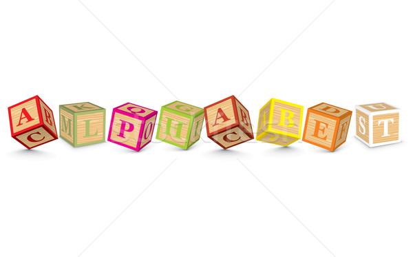 Stock photo: Word ALPHABET written with alphabet blocks