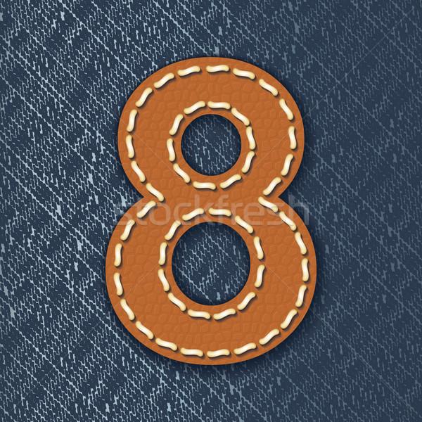 ストックフォト: 番号 · 革 · ジーンズ · 手紙 · ファブリック · 布