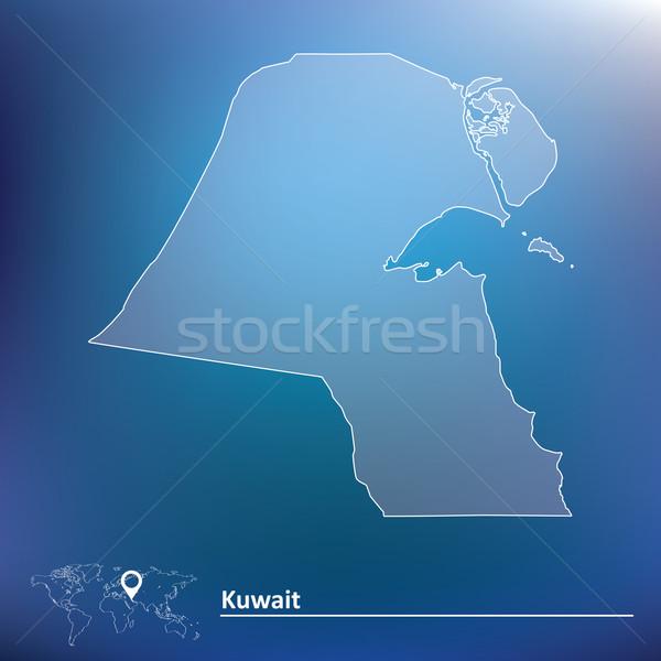Mappa Kuwait texture arte segno verde Foto d'archivio © ojal