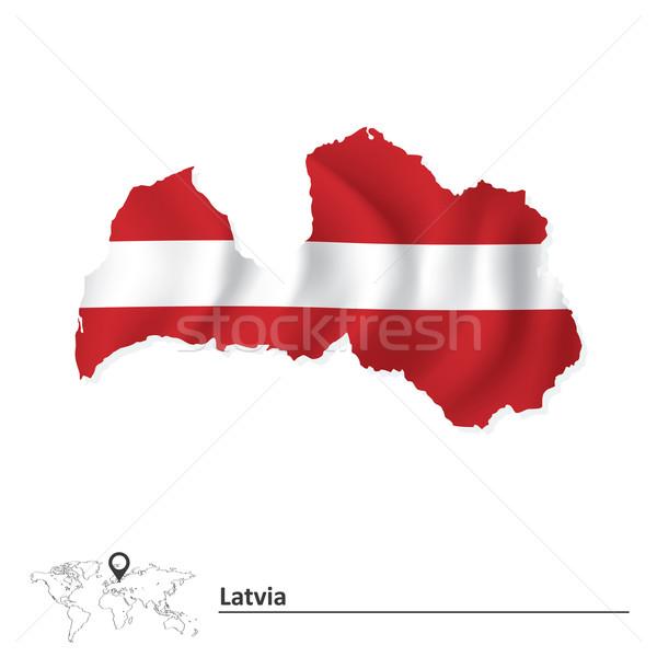 Térkép Lettország zászló terv háttér utazás Stock fotó © ojal