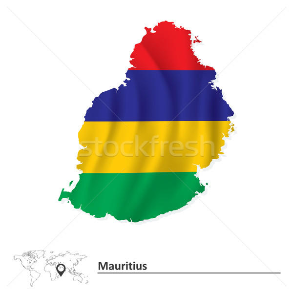 Map of Mauritius with flag Stock photo © ojal