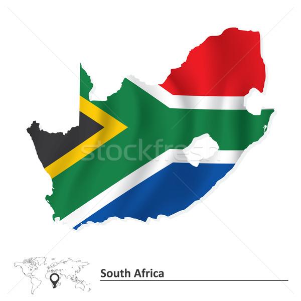 地図 南アフリカ フラグ アフリカ 風 繊維 ストックフォト © ojal