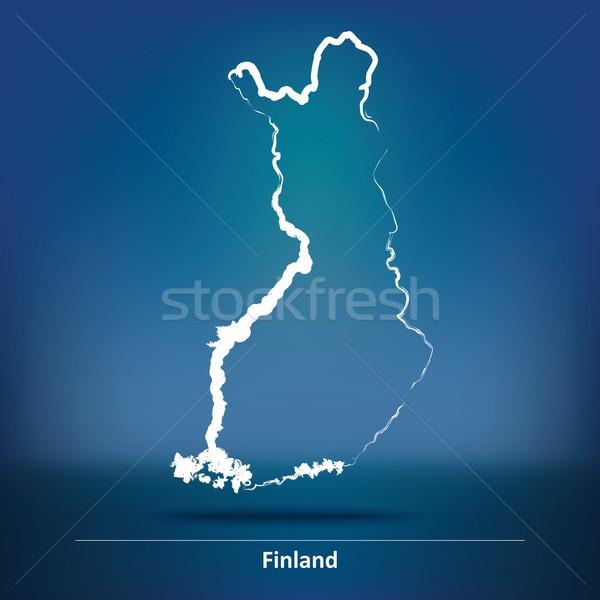 Firka térkép Finnország absztrakt művészet kék Stock fotó © ojal