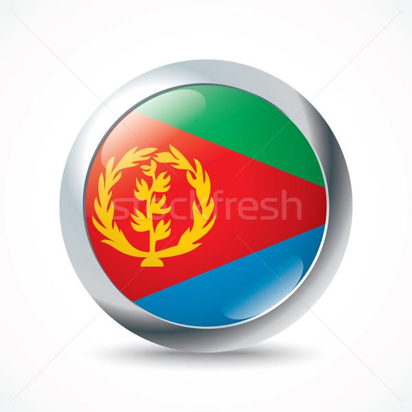 Foto stock: Eritreia · bandeira · botão · textura · arte · azul