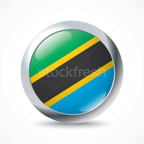 Tanzanya bayrak düğme soyut Afrika siyah Stok fotoğraf © ojal