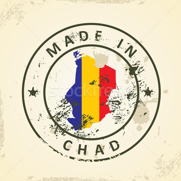Stempel kaart vlag Tsjaad grunge wereld Stockfoto © ojal