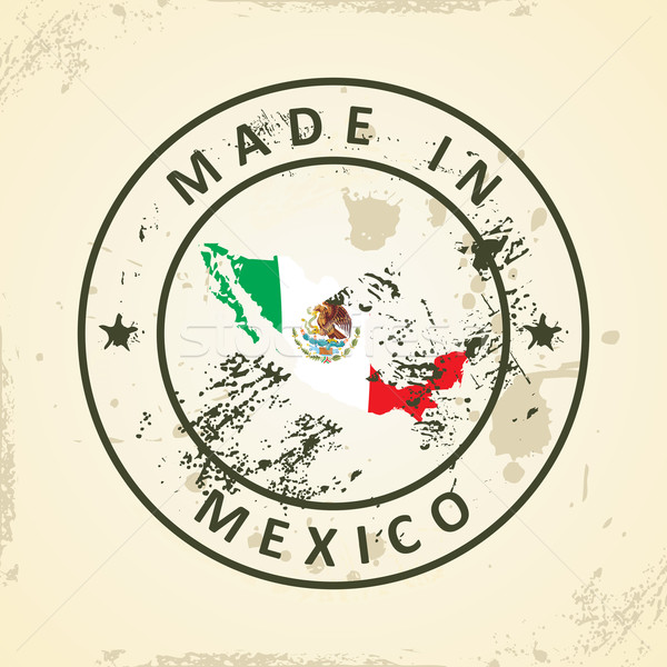 Stamp with map flag of Mexico Stock photo © ojal