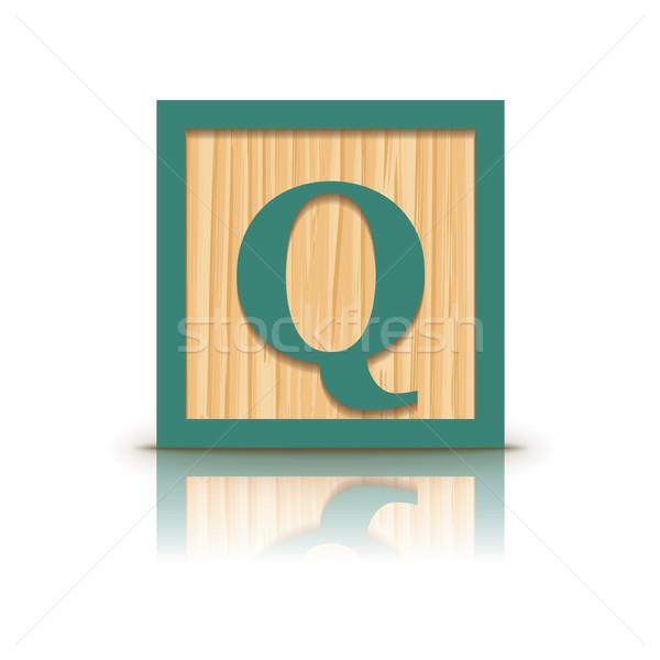 Vector letter Q wooden alphabet block Stock photo © ojal