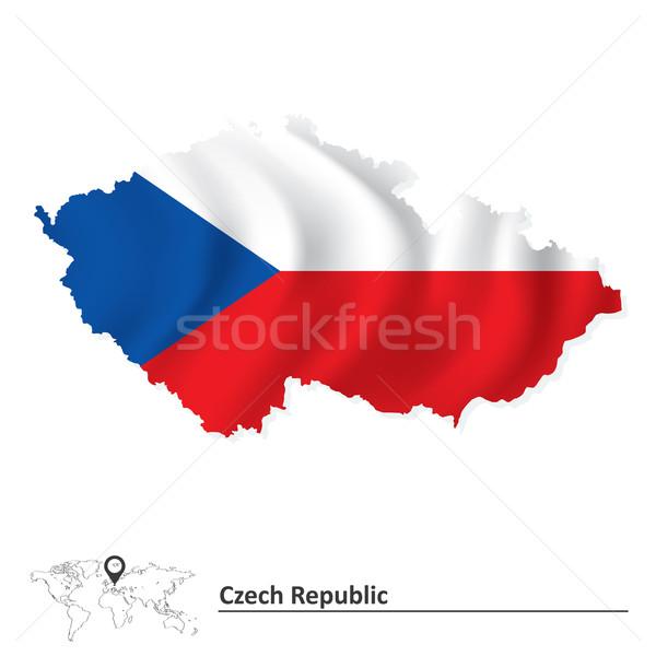 商业照片: 地图 · 捷克共和国 ·旗· 蓝色 · 侧影 · 颜色