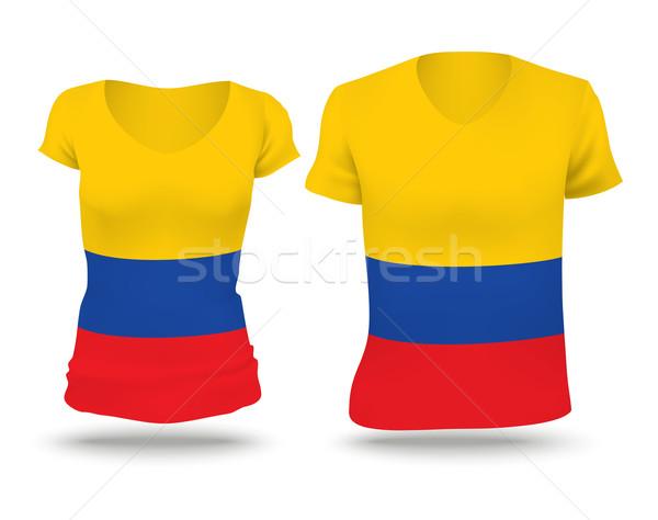 Bayrak gömlek dizayn Kolombiya kadın adam Stok fotoğraf © ojal