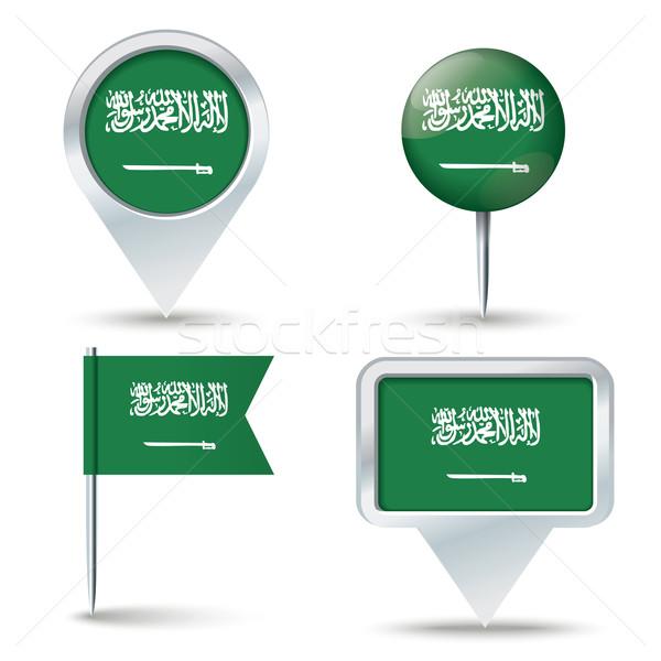 Harita bayrak Suudi Arabistan iş yol beyaz Stok fotoğraf © ojal