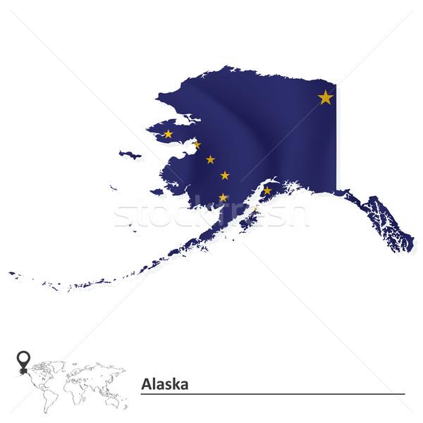 Map of Alaska with flag Stock photo © ojal