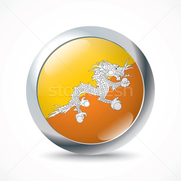 Foto stock: Butão · bandeira · botão · água · abstrato · mundo