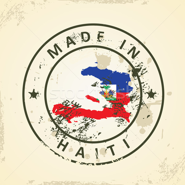 Stamp with map flag of Haiti Stock photo © ojal