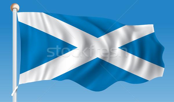 Bandera Escocia mapa azul viaje viento Foto stock © ojal