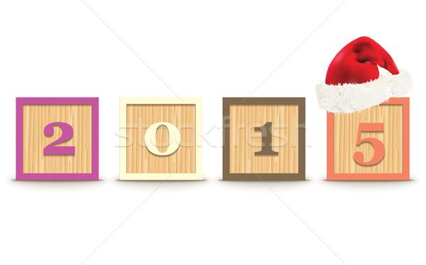 2015 építőkockák karácsony kalap iskola gyerekek Stock fotó © ojal