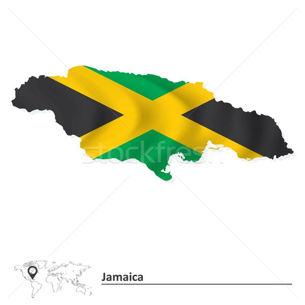 Foto stock: Mapa · Jamaica · bandera · textura · arte · signo